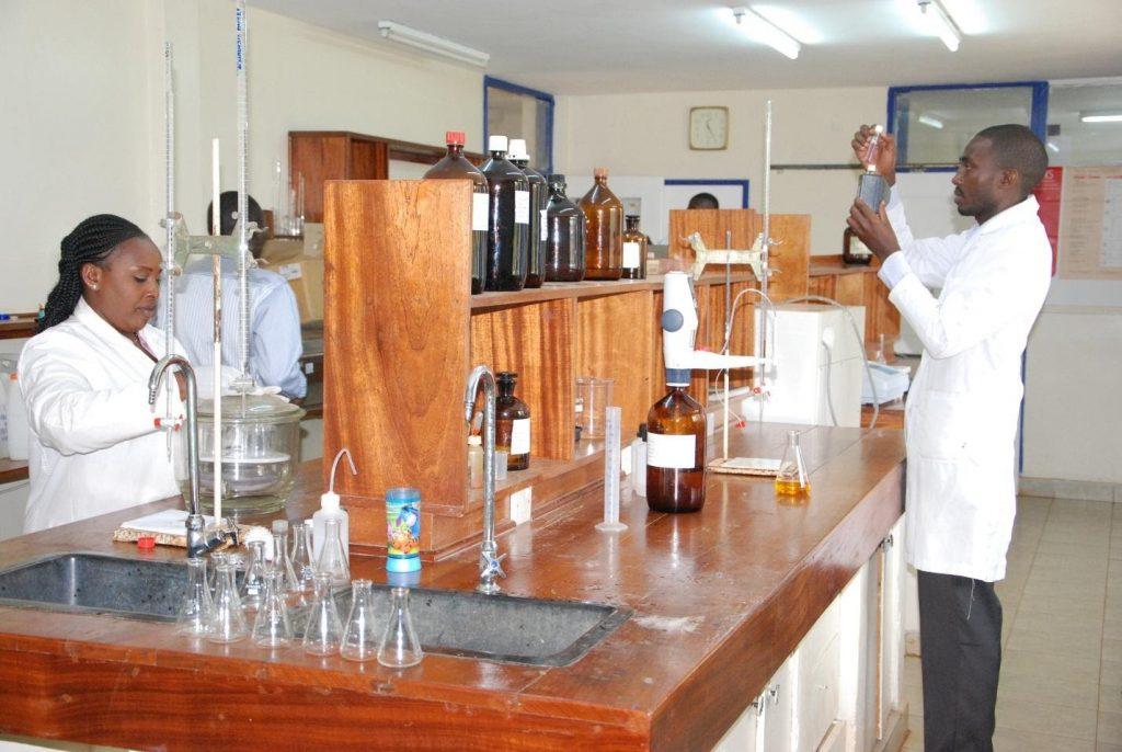 Staff conducting tests at Kabete Treatment Laboratory