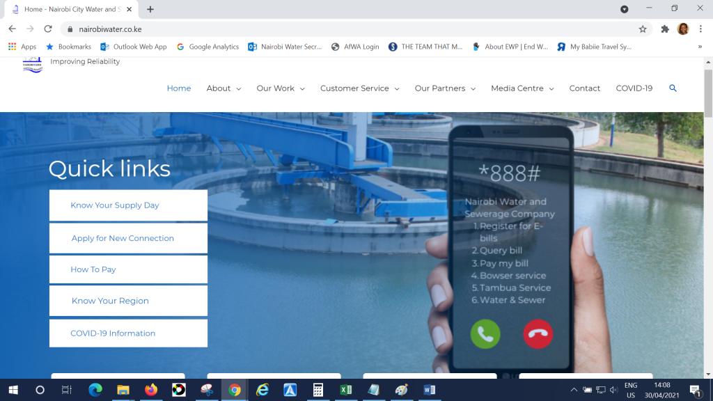 Nairobi water new website home page